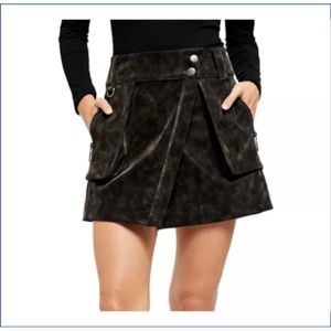 Free People Carson Utility Suede Skirt 10